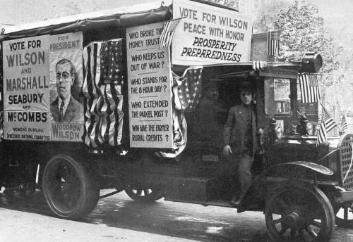 """WILSON'S campaign propaganda for the 1916 election emphasized his stance of non-intervention in the war then raging in Europe. Most of the press and the public were also against intervention. Then, after Wilson's reelection -- and the British-Zionist deal, concluded just a few days before the election -- the press began a """"surprisingly rapid"""" shift toward an interventionist stance. Wilson followed, calling for a declaration of war against Germany just five months after his reelection. Even before that, however, he and Brandeis had been planning war, and it was their secret assurances that the United States would be brought into the war that led British leaders to reject Germany's peace offer of December 12, 1916. If that offer had been accepted, the lives of some three million White soldiers -- including 115,000 Americans -- Which were consumed in 1917 and 1918 would have been spared. Furthermore, the Second World War, which grew out of the unjust conditions imposed on Germany after the Allied victory, would have been avoided. And if Russia could have had peace in December 1916, she probably would have had time to stamp out the Bolshevik virus being spread among her soldiers and workers by the Jews, and Communism would have suffered a setback from which it might never have recovered. All of the grim and bloody consequences of Wilson's switch in foreign policy stem from the Zionist influence in the U.S. news media and politics, which had been built up over the preceding two decades."""