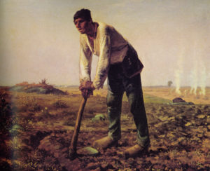 "The painting titled ""L 'homme a la houe"" by Jean-Francois Millet that inspired Edwin Markham to write his poem titled ""The Man with a Hoe."""