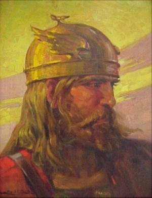 "A ""Viking Warrior"" depicted by the Swedish artist Axil Linus."