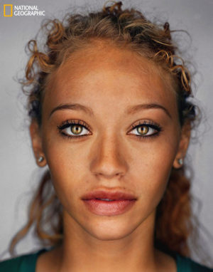National Geographic's interpretation of what a typical American will look like in 2060. The artist's rendition is based off of estimates by the The Office of U.S. Census, increased racial mixing and captured images of the current racial mix in America.