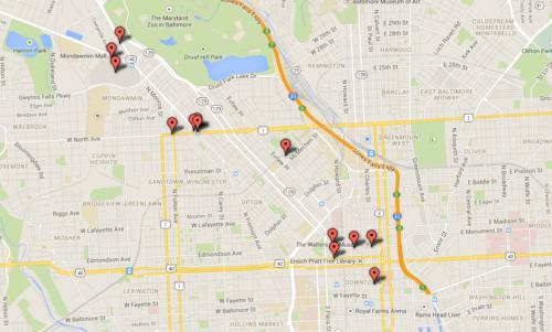 Baltimore Riots incident map, April 27, 2015