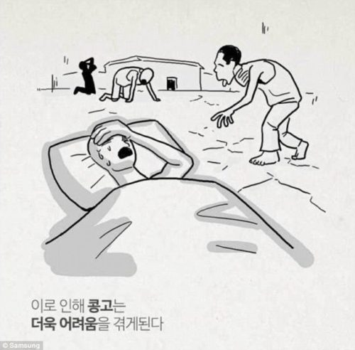 This cartoon of people dying of dehydration comes with the caption 'Because of it, Congo suffered even more hardship'. This cartoon appeared on the Samsung website in South Korea and is believed to refer to Elliott Management's business dealings in the Congo.