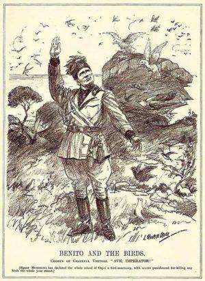 Benito Mussolini depicted declaring Capri a bird sanctuary