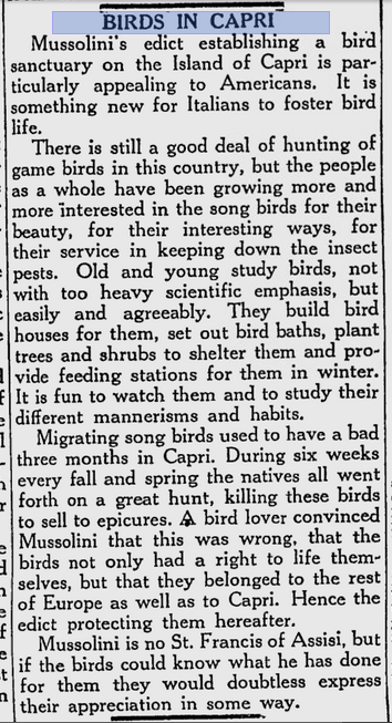Berkeley Daily Gazette 15 January 1934 on Mussolini's bird sanctuary in Capri