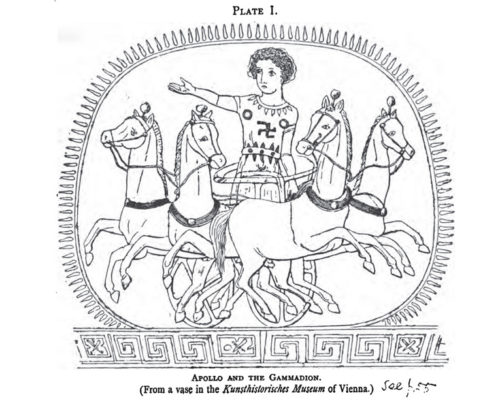 Apollo as depicted on an ancient Greek vase -- they called the swastika the Gammadion