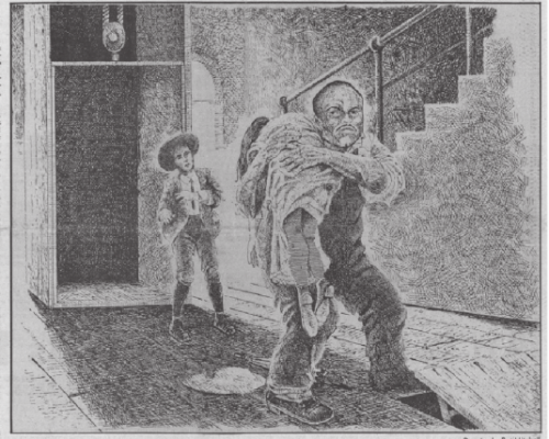 An artist's interpretation of the confrontation between Alonzo Mann, then 14, and Jim Conley, holding the limp form of Mary Phagan on the first floor of National Pencil Co.