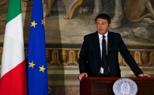 "Italian Prime Minister Matteo Renzi makes a speech on the theme ""A response to terror"" during a news conference in Rome"