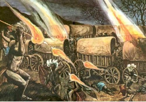 A SCENE FROM HELL: On February 16, 1838, in the dead of night, thousands of Zulu tribesmen swept down on the sleeping Afrikaners encamped along the Blauwkrans River. During the nightmarish hours which followed, the Black men, drunk with blood lust, slaughtered hundreds of White women and children before the Afrikaners could organize a defense. The horror on the Blauwkrans, following on the heels of the Zulus' treacherous murder of Piet Retief and his men, almost brought the Great Trek to a standstill.