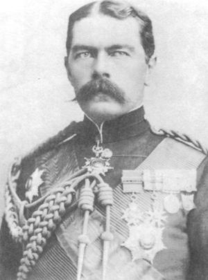 "British Commander-in-Chief Herbert Kitchener's ""scorched earth"" policies against the Boers included burning their farmsteads, destruction of their crops and livestock, and herding their women and children into concentration camps."
