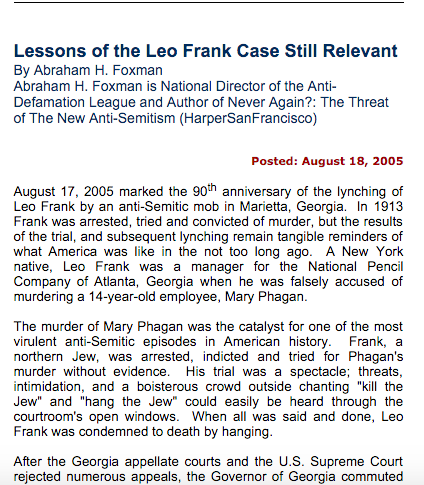 "Screen shot of ADL article claiming that Leo Frank was ""convicted without evidence."""