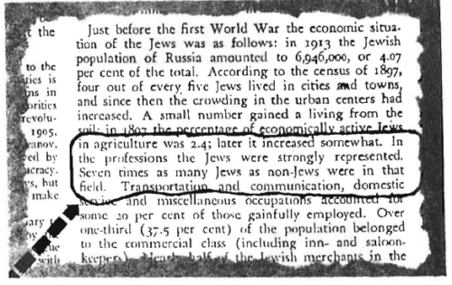 "Universal Jewish Encyclopedia reveals virtual monopoly Jews established in the professions in Russia, holding seven-eighths of all professional positions. This was at a time when they were crying to the world about how the tsars were ""oppressing"" them!"