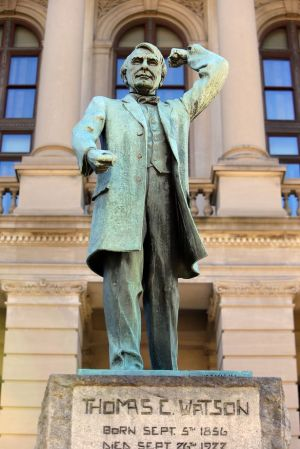 The statue of Tom Watson which has been removed from the steps of the Georgia state capitol