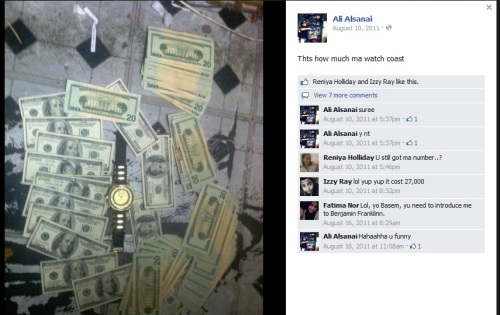 A Facebook posting by the apparently Muslim 19-year-old convenience store operator, Ali Alsanai, who was friends with Jessica and who denies any gang involvement. Here he brags about buying a $5,000 watch with cash at the age of 15.
