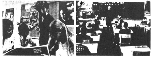 "Contrast between American (left) and Russian classroom scenes is revealing. While American children waste as much as half of their time in school with frivolous and even pernicious ""studies,"" such as ""Contemporary Issues"" or ""Black History,"" young Russians are kept busy with language, geography, shop work — and lots of science and mathematics. Furthermore, the level of orderliness and discipline in Russian schools far exceeds that in permissive and racially mixed American schools, and the result is that young Russians enter the workforce or military service with better work habits, better self-control, and healthier attitudes. No amount of additional money spent on fancy buildings or higher teacher salaries in this country can compensate for these differences."