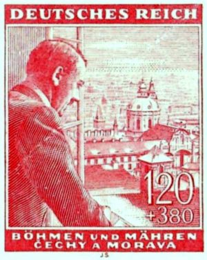 Adolf Hitler looks out over the city of Prague in this postage stamp from the Protectorate of Bohemia and Moravia.