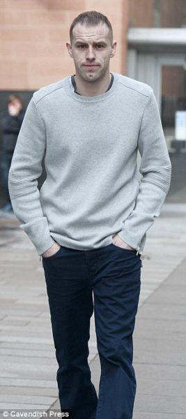Edwards (pictured outside Manchester Magistrates' Court) admitted criminal damage in relation to the supermarket incident but denied that he was 'racially motivated'.