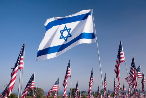 Flag of Israel surrounded by U.S. flags