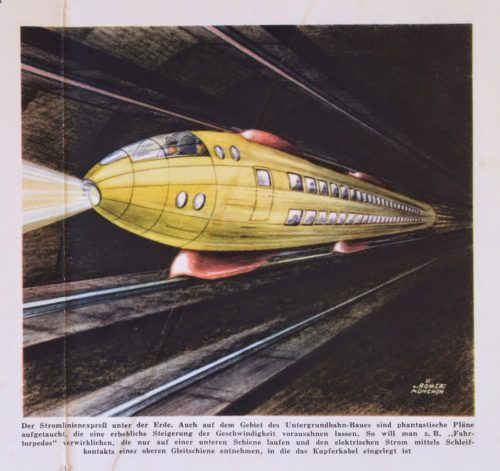 Underground Train called Driving Torpedo paleo-future