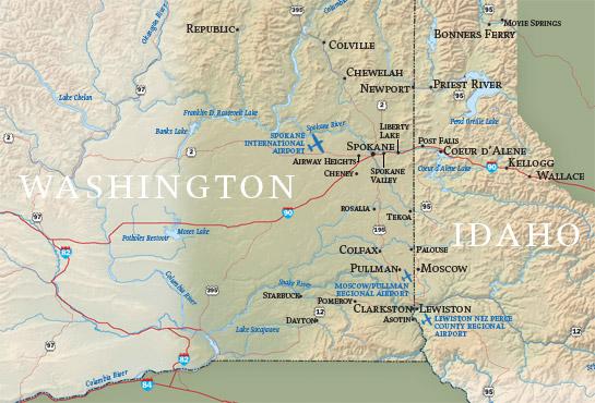 Washington and Idaho Map