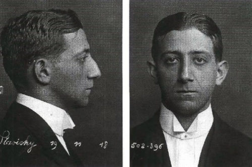 A pair of Stavisky's booking photographs