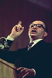 MENACHEM BEGIN, the most sinister political leader of modern times, is greatly admired by the conservative politicians and writers of America, because of his advocacy of capitalism. The sly and crafty Mr. Begin began his political career as an underground terrorist and was responsible for the cold-blooded massacre of hundreds of civilian women and children, for scores of political assassinations, and for dozens of terror bombings. The torture and gruesome mutilation of British prisoners was his specialty. His present status as a conservative idol speaks volumes for conservative values.