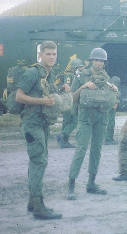 "LT Williams, ready for parachute jump with CPT Robert Marasco, alleged ""trigger man"" in the notorious ""Green Beret Affair"" in RVN."