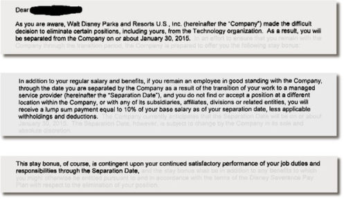 Excerpts from a contract that technology employees laid off by Disney had to sign.