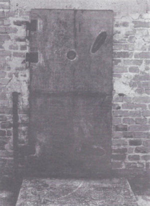 "A casting of this ""gas chamber"" door from the Majdanek camp in Poland is on display at the US Holocaust Memorial Museum in Washington, DC. French Holocaust researcher Jean-Claude Pressac has conceded that this ""gas chamber"" is a fraud. (See the Sept.-Oct. 1993 Journal, p. 39.)"