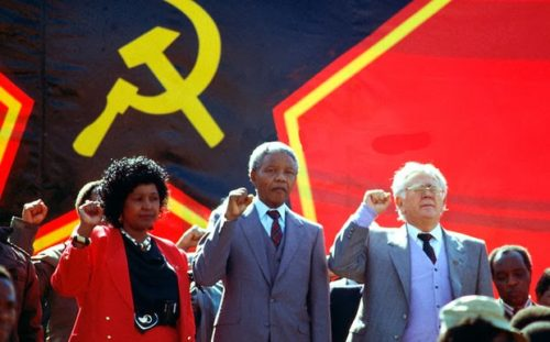 Winnie_Mandela_Nelson_Mandela_Yossel_Joe_Slovo_hammer_and_sickle_red_star_flag_banner