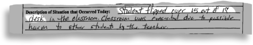 A discipline referral for a second-grader at Melrose