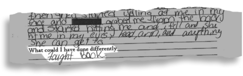 A witness statement written by a fourth-grader at Campbell Park