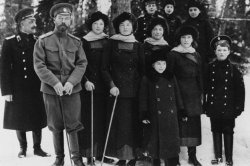 The tsar and his family at Tsarskoye Selo palace near St Petersburg in 1916