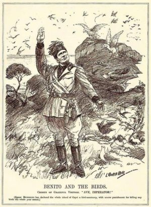 Benito Mussolini depicted declaring Capri a bird sanctuary