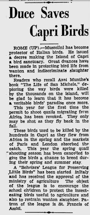 Il Duce saves Capri birds, San Jose News, April 1934