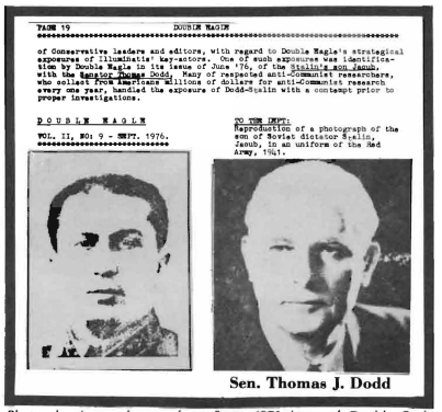 Photo drawing and copy from Sept. 1976 issue of Double Eagle purporting to prove that Stalin's son, Jacub, was the late Senator Thomas Dodd.