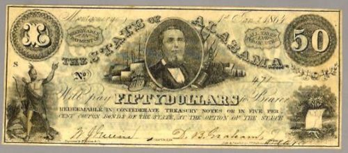 Thomas Watts' portrait was featured on a Confederate $50 note, one of which was framed in Dr. Pierce's family home during his youth