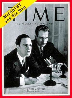 "Roy Cohn and David Schine: agents of destruction given huge publicity by the media as ""McCarthy's Men"""