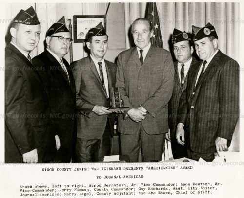 "Guy Richards receives ""Americanism"" award from Jewish War Veterans in 1964"