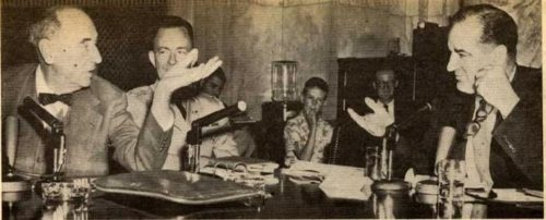 The Army-McCarthy hearings: Welch, left; McCarthy, right