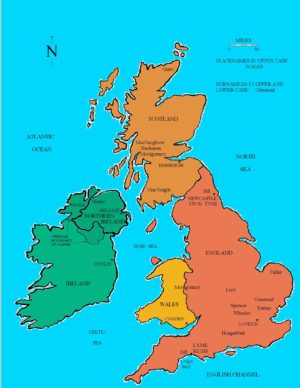 Map depicting the British Isles