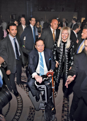 Sheldon Adelson attends the Champions of Jewish Values International Awards Gala with his wife, Miriam, in 2014.