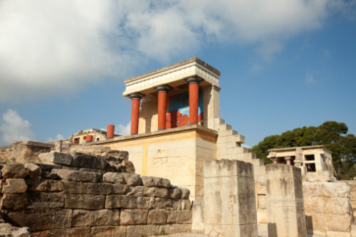 One of the buildings in Knossos restored by British archeologist Sir Arthur Evans. Knossos was the major civil center of the Minoans.