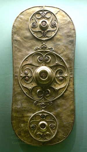 A significant piece of Celtic art, the Battersea Shield. Only the bronze sheet remains that covered the wooden shield. Typical of the La Tene style.