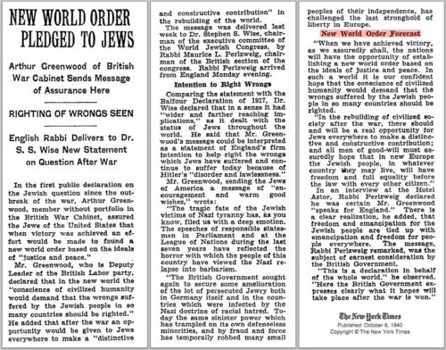 1940 New World Order pledged to Jews