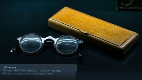 A prisoner's glasses and case from a camp in Komi, in Russia's far north