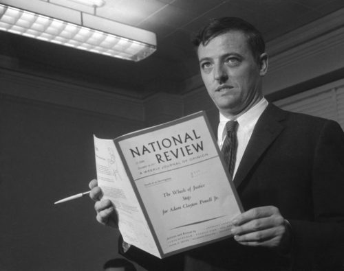 A young Buckley with an early issue of his  magazine, 1957