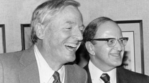 "Buckley with Jewish ""conservative"" Harry Jaffa, 1984"