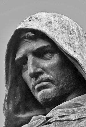 The monument to Giordano Bruno, at the Campo de Fiori in Rome, detail