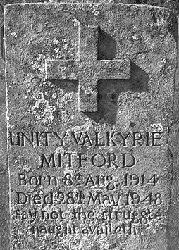 Unity's headstone (she shot herself when discovering that her homeland, Great Britain, had declared war upon her spiritual homeland, Germany; and died some years later from complications related to her suicide attempt)