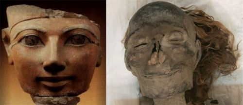 Above: A bust of the female Pharaoh Hatshepsut, fifth pharaoh of the eighteenth dynasty (1509–1458 BC), and her mummy. From The Children of Ra.
